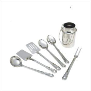 7pc Stainless Steel Kitchen Tools Set In Milk Can Style Holder
