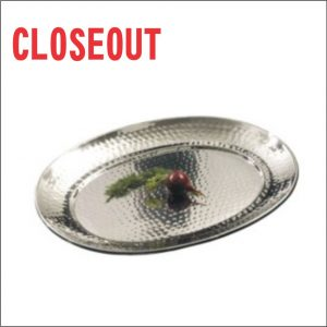 Stainless Steel Hammered Oval Tray (Closeout)
