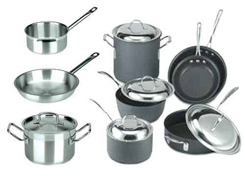 Stainless Steel or Non-Stick Cookware w/ Heavy Duty SS Handles &  Lids
