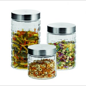 3pc Glass Jar Set W/Steel Lid