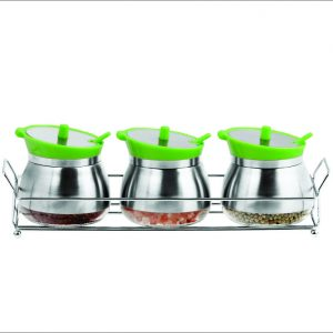 3pc Coated Glass Jar Set with Steel Rack 200ml