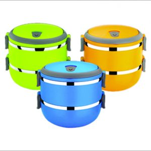 Stainless Steel Lunch Box Double Wall 1 Layer Round