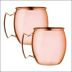 2PC COPPER FINISH MOSCOW MULE MUG SET