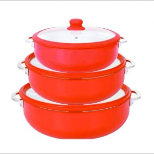 3pc Alum. Dutch Oven Ceramic Caldero w/glass Lid 1.9-3.2-7qt CLR