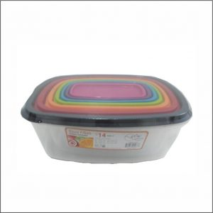 14pc Store Fresh Rect. CNTR Set Multi Color Lid