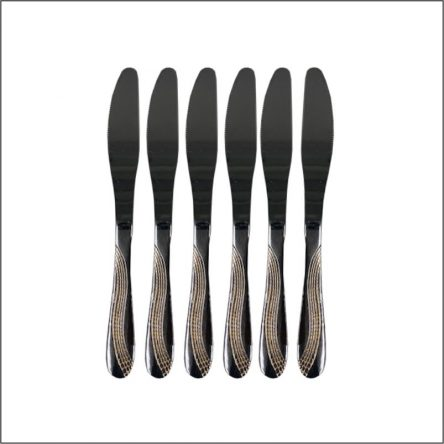 6PC STAINLESS STEEL DINNER KNIFE W/ GOLD INLAY