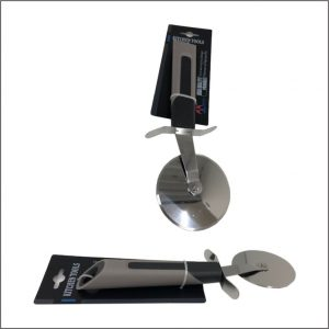 STAINLESS STEEL PIZZA CUTTER WITH SOFT RUBBER GRIP HANDLE